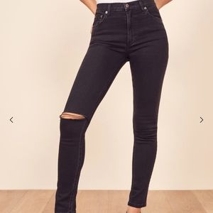 Reformation Jeans black ripped knee